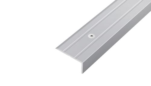 AP8 schodová lišta vrtaná ACARA, hliník elox stříbro, 10 mm, 25 mm, 2,7 m