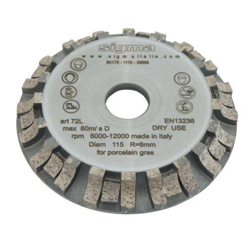SIGMA long Life diamantová frézovací hlava radius 8, 6000 rpm, průměr: 115 mm