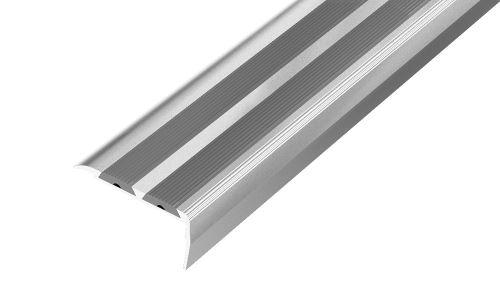 AP12 schodová lišta samolepící ACARA, hliník elox stříbro, guma béžová, 20 mm, 1,8 m