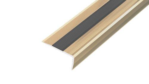 AP12/1 schodová lišta samolepící ACARA, hliník elox stříbro, guma černá, 18 mm, 2,7 m
