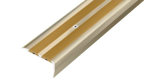AP12 schodová lišta vrtaná ACARA, hliník elox stříbro, guma béžová, 20 mm, 1,8 m